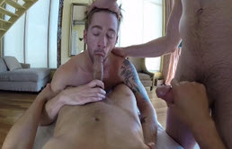 Three young guys record themselves as they assfuck in a massage session