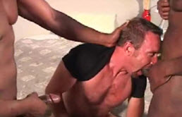 Mature blond and two horny black guys