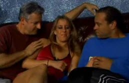 Two horny guys and a blonde slut on the couch