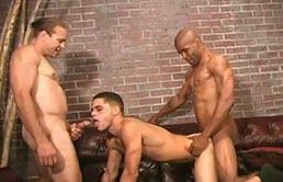 Latino muscoloso fottuto da due maschi cazzuti