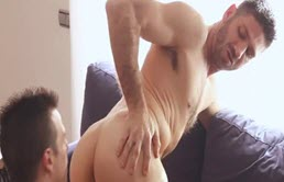 Young and sexy guys ass fuck on the couch and in the bathtub