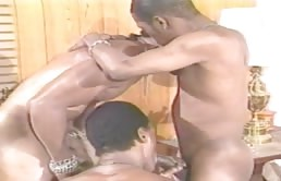 Three black guys have oral and anal sex