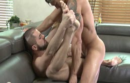 Blond with tattoos fucks his roommate in the ass