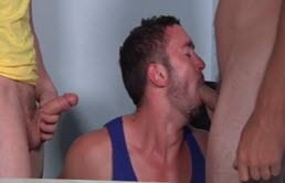 Brunet fucked by two blond friends