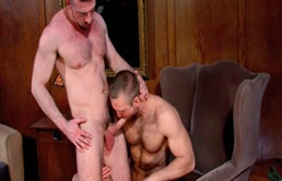Hairy guys give each other a blowjob and ass fuck