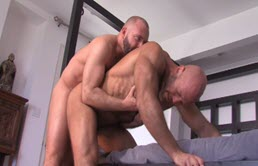 Mature bald guys ass lick before anal sex
