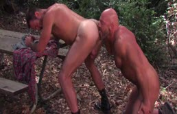 Muscular guys fucking in the woods