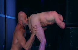 Bald and muscular mature guys have anal sex