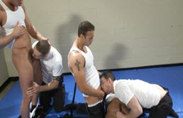 Muscular men have an orgy after training