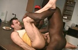 Anal sex in the kitchen between a white passive and two black guys