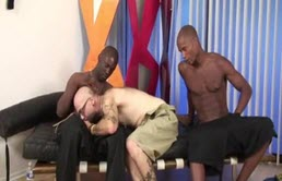 Mature bald guy doggy style fucked by two black dudes