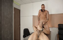 Hot guys have anal sex at work