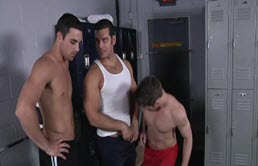 Anal gangbanged by his two gym partners