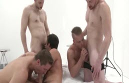 Five hot boys have group sex