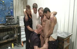 Wild gay group sex in the garrage