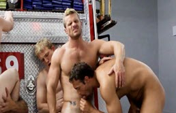 Firefighters engage in hot group sex