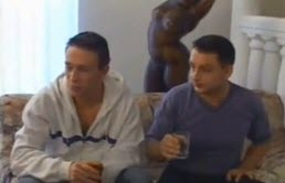 4 guys drinking a bottle of champagne then suck each other