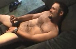 Hairy gay ejaculates on him