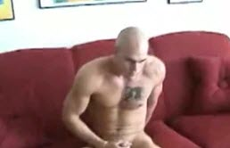Bald guy jerks off his big hairy cock