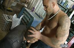 Muscular man ass fucks a passive gay really hard