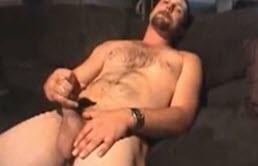 Dude masturbates hairy cock