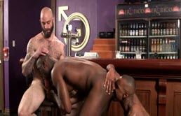 Interracial threesome in bar