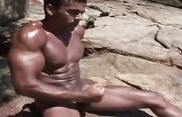 Masturbation video outdoor with horny gay