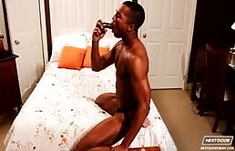 This horny black gay masturbation is hot
