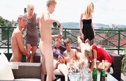 Balcony scene transforms into a bisexuals orgy