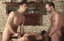 Threesome with two gay fucking a gay slut