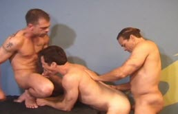 Threesome with mature gay