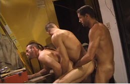 Threesome with hot studs at work