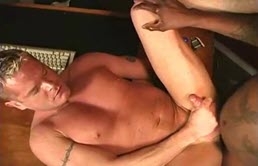 Blond has his ass fucked by black cock
