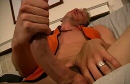 Sexy blond masturbates his big cock