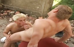 Young hot gays have anal sex outdoor