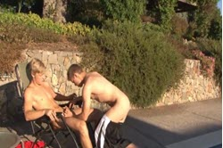 Outdoor oral sex with gays near the pool
