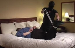 Fat guy tied on the bed sucks cock