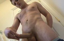 Masturbation in the bathroom for hairy cock