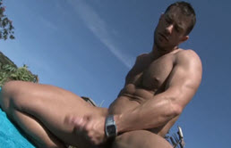 Cody Cummings masturbates outdoor