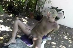 Hot and horny blond masturbates outdoor